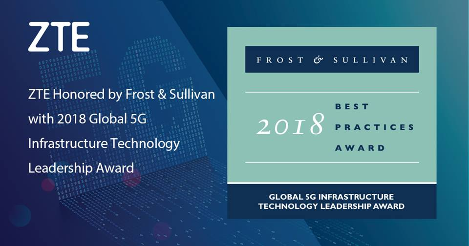 ZTE Commended by Frost & Sullivan for Positioning itself at the Forefront of 5G Technology Development, Standardization, and Commercialization